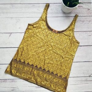 TORY BURCH Gold and Brown Print Tank Top XS